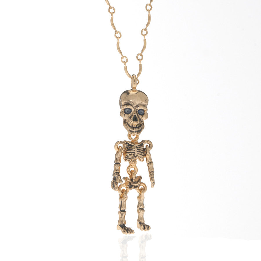 Goldtone skeleton pendant necklace erwin pearl goldtone skeleton pendant necklace aloadofball Image collections