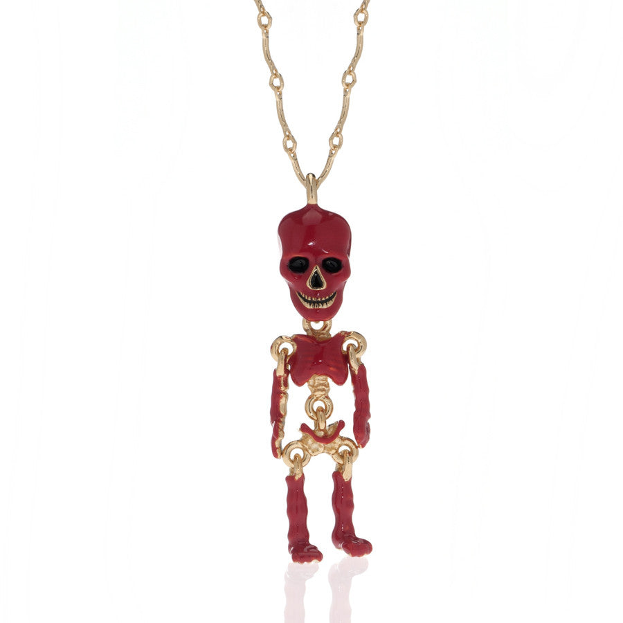 Red Skeleton Pendant Necklace