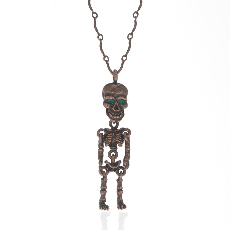 Copper Tone Skeleton Pendant Necklace