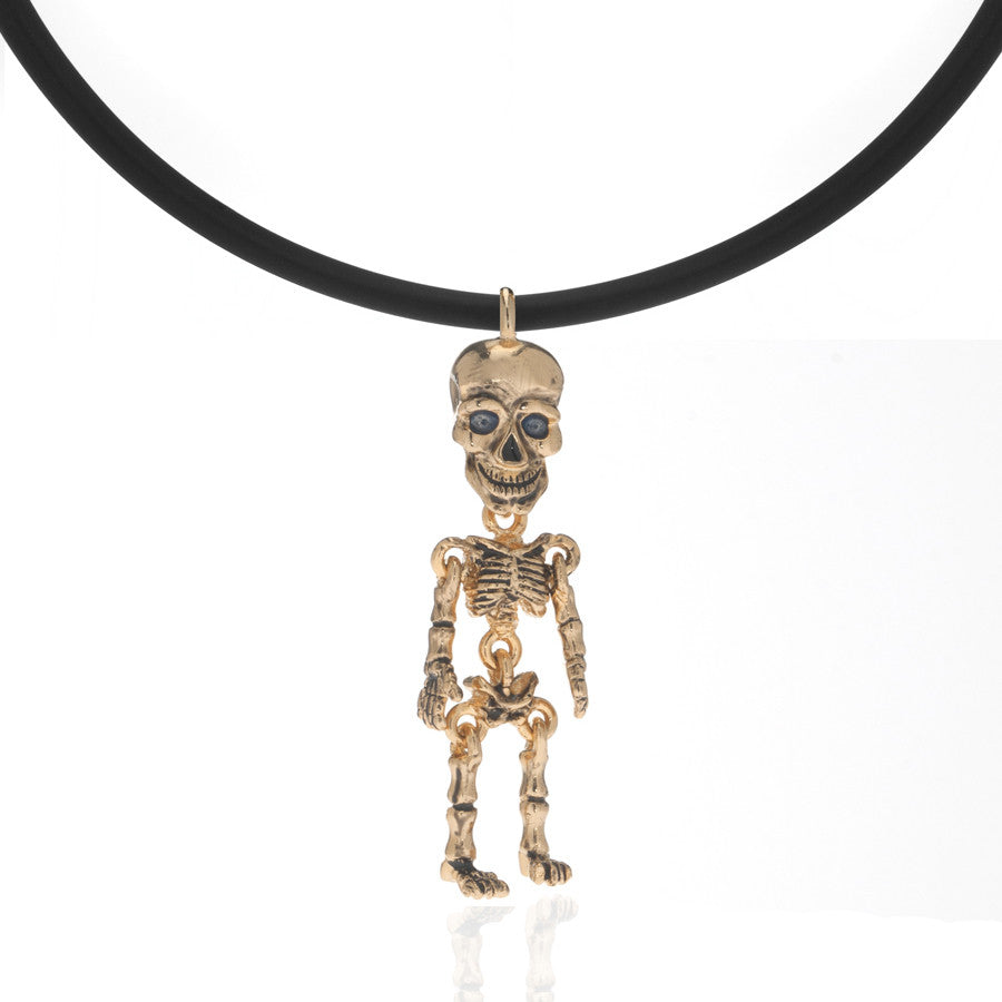Gold Tone Skeleton Pendant Necklace On Black Cord