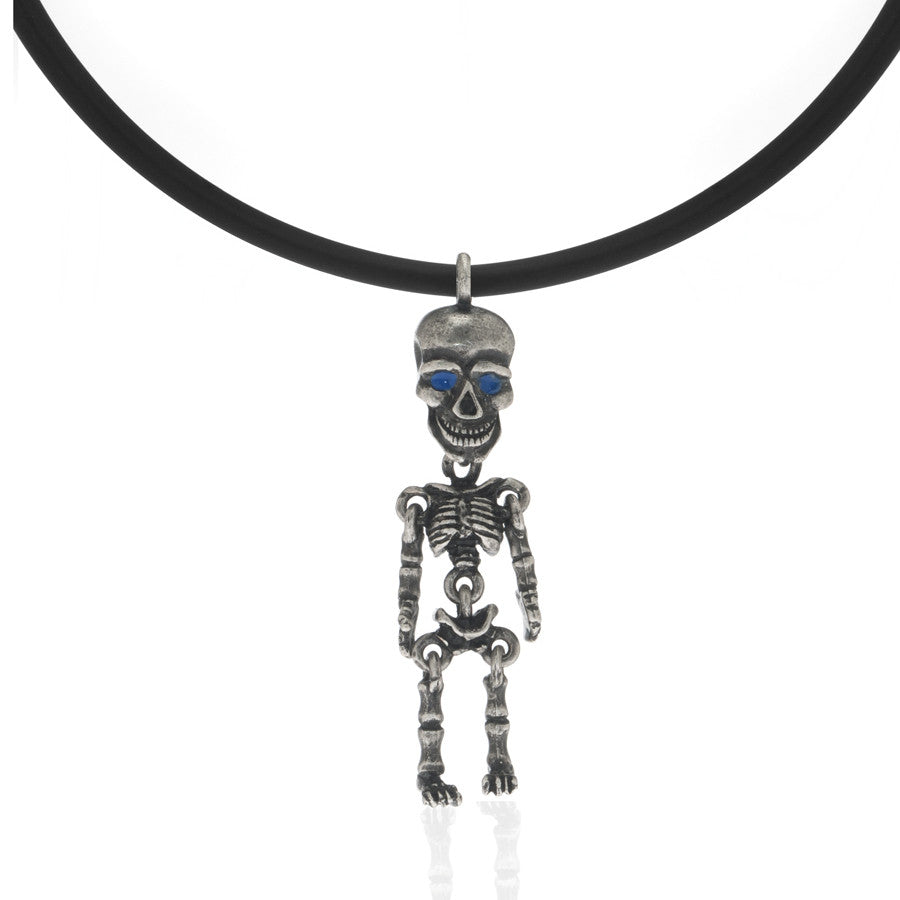 Silvertone Skeleton Pendant Necklace On Black Cord