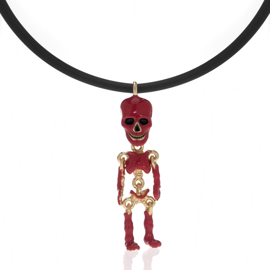 Red Skeleton Pendant Necklace On Black Cord