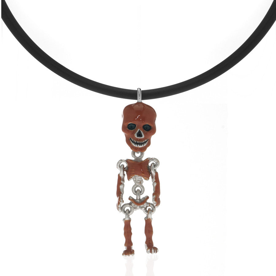 Rust Skeleton Pendant Necklace On Black Cord