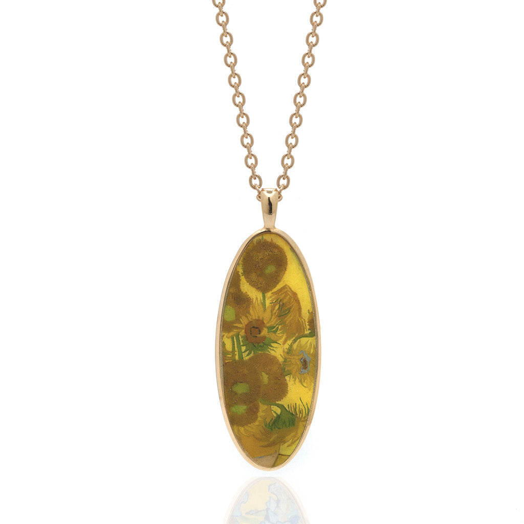 Van Gogh Goldtone Sunflower Oval Pendant