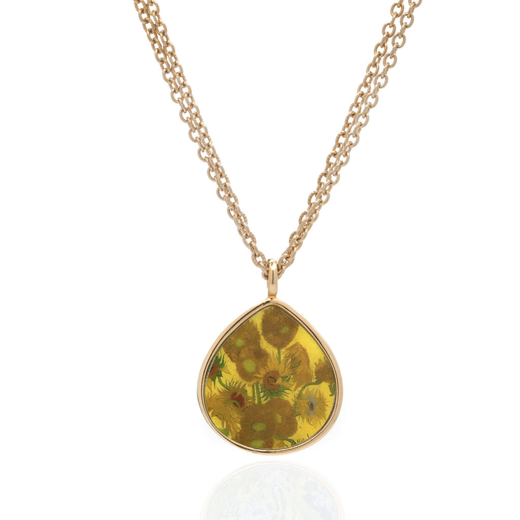 Van Gogh Goldtone Sunflower Tear Pendant