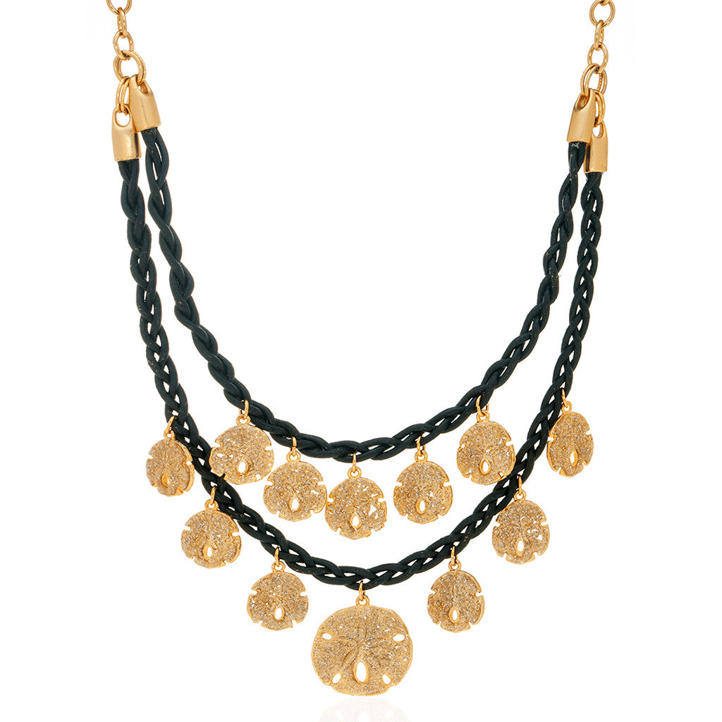 Stardust Goldtone Sand Dollar Necklace with Black Cord