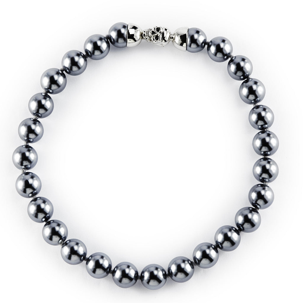 14MM Dark Gray Pearl Necklace 16""