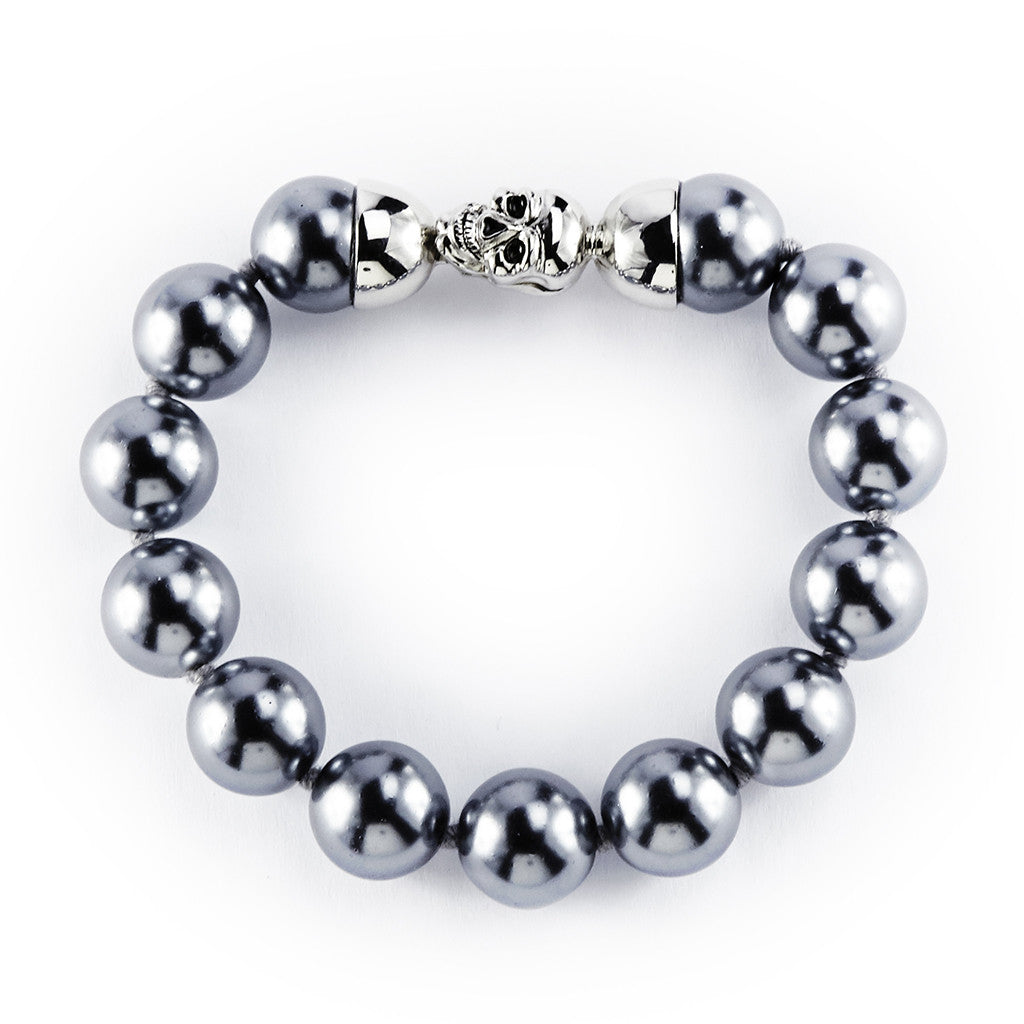 14mm Grey Pearls Bracelet with Silvertone Skull Clasp