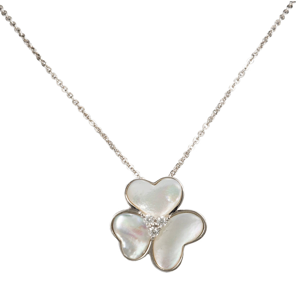 Open Heart Mother of Pearls Necklace 16""