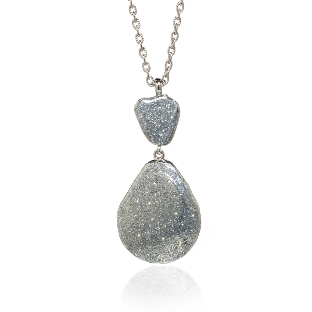 Large Teardrop Shell Necklace Silver Stardust