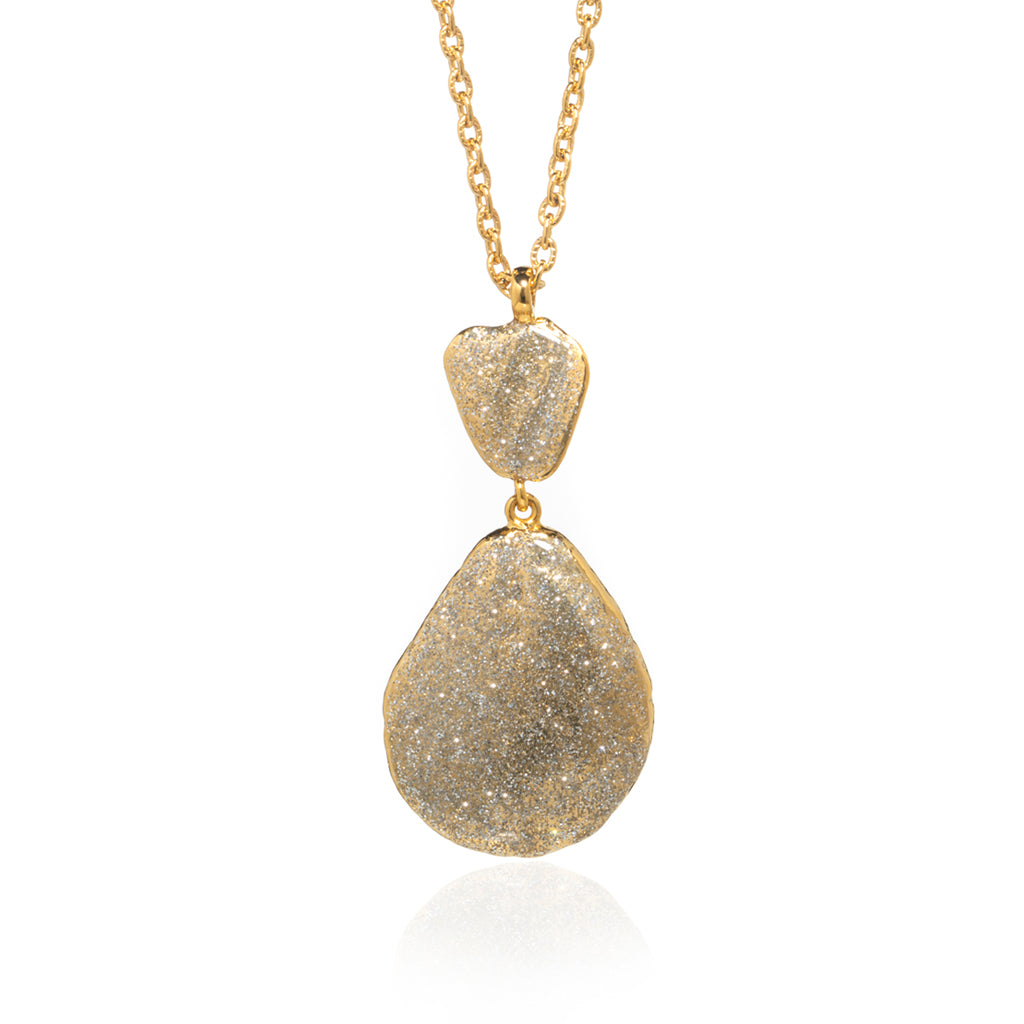 Large Teardrop Shell Necklace Gold Stardust