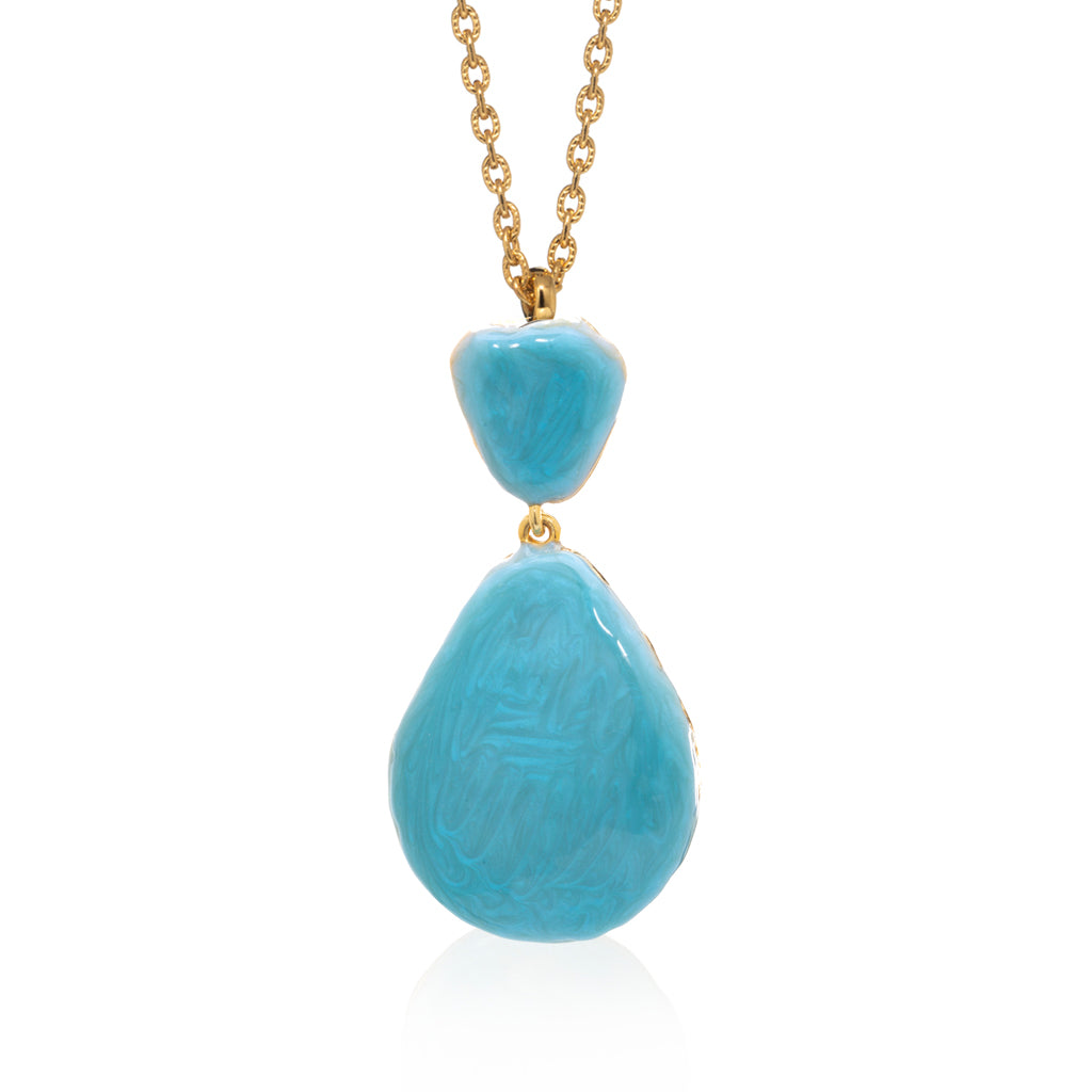 Large Teardrop Shell Necklace Ocean Blue