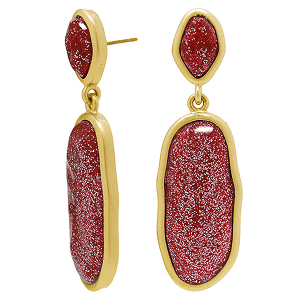 Red Stardust Wire Earrings