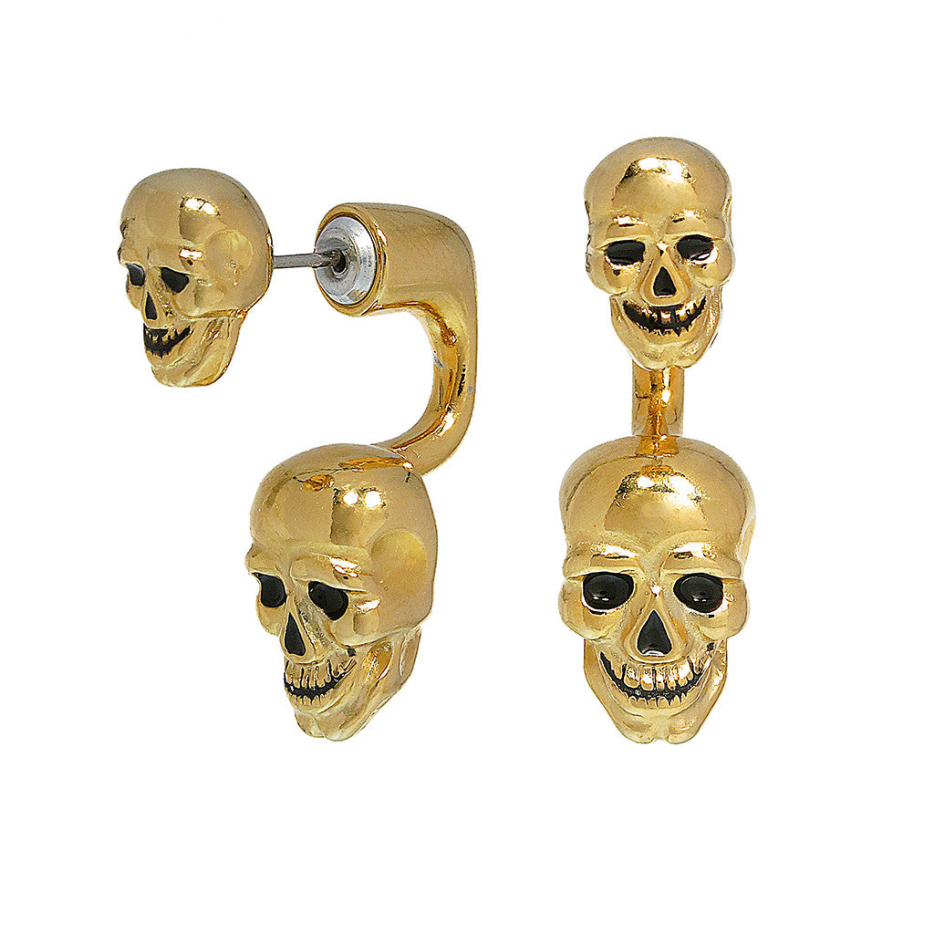 Goldtone Double Lucky Skull Earrings