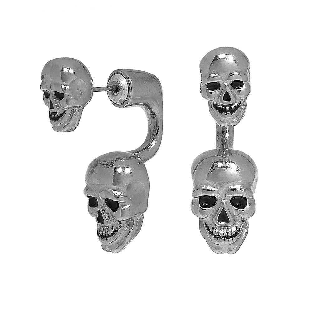 Silvertone Double Lucky Skull Earrings