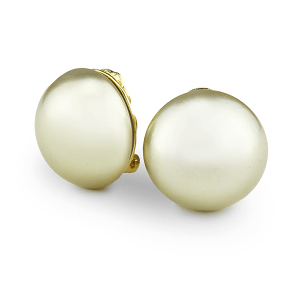 Goldtone 20MM Kiska Pearl Button Earrings