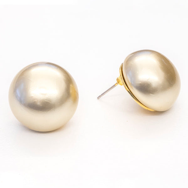 Goldtone 20MM Kiska Pearl Pierced Earrings