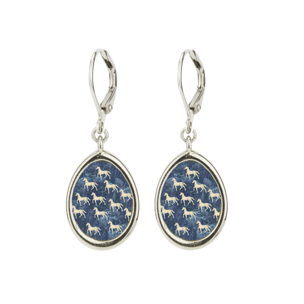 Rhodium Plated Small Equestrian Leverback Earring