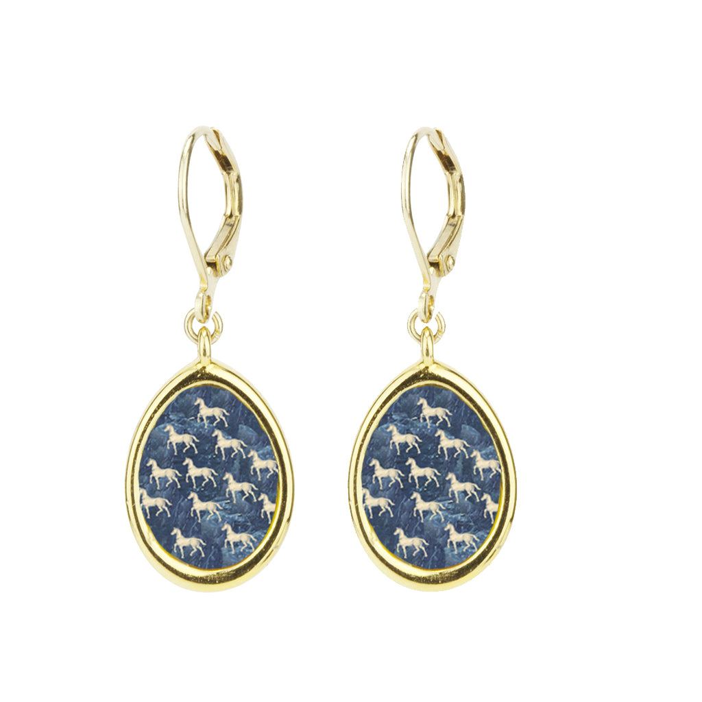 22k Gold Plated Small Equestrian Leverback Earring