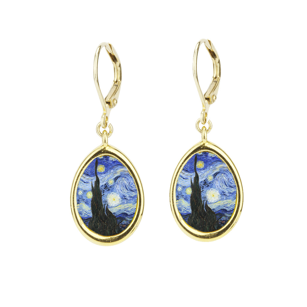 22k Gold Plated Small Starry Night Leverback Earring