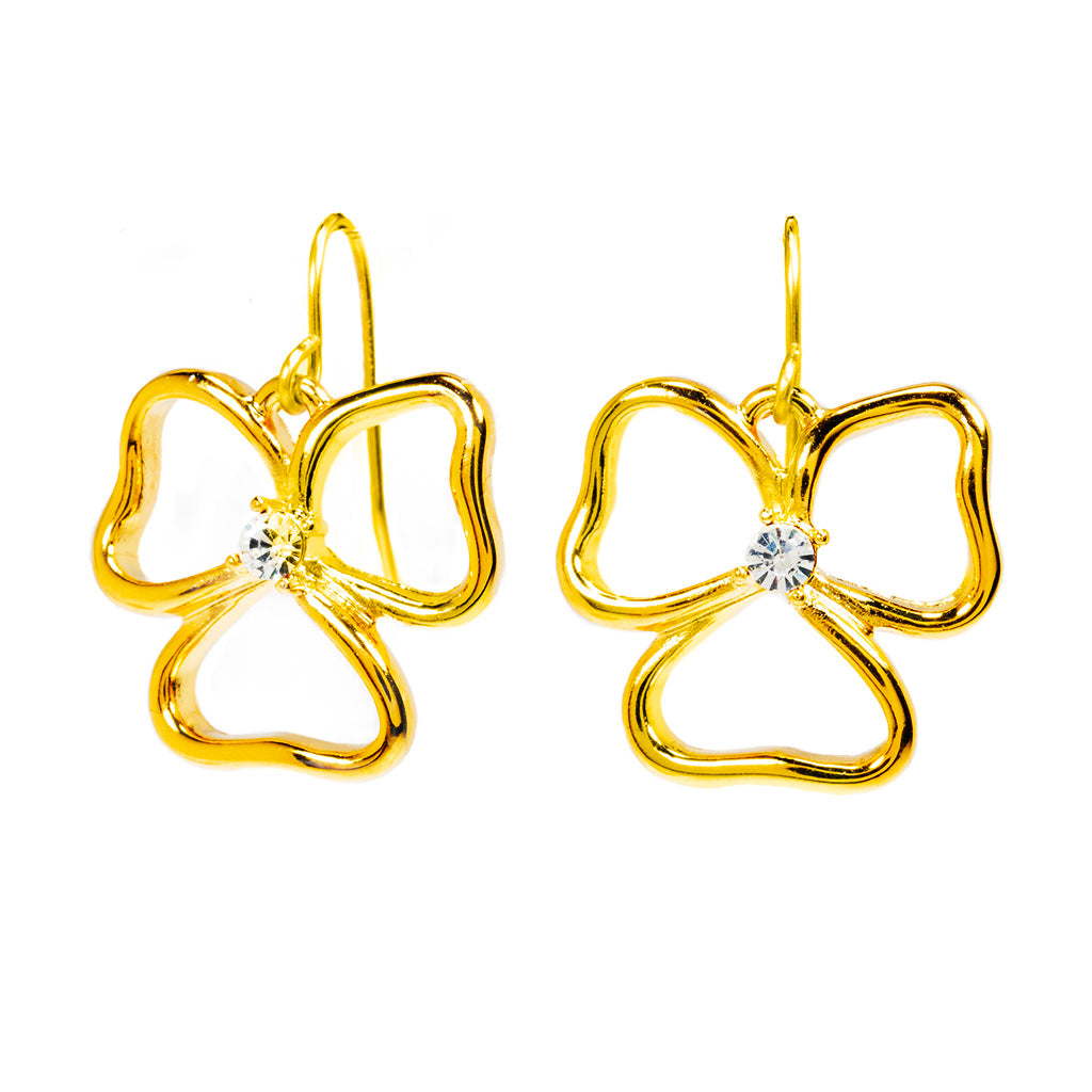 Goldtone Open Heart Drop Earrings