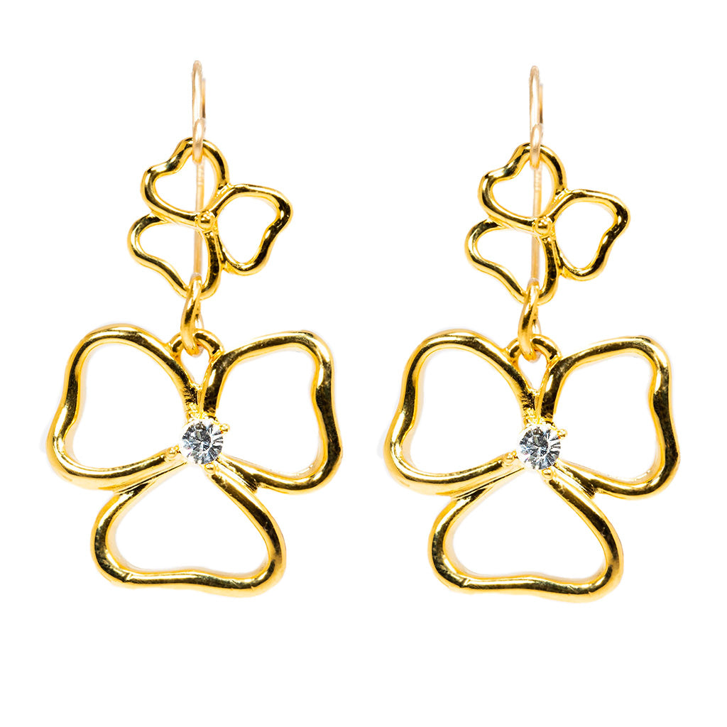 Goldtone Double Drop Open Heart Earrings