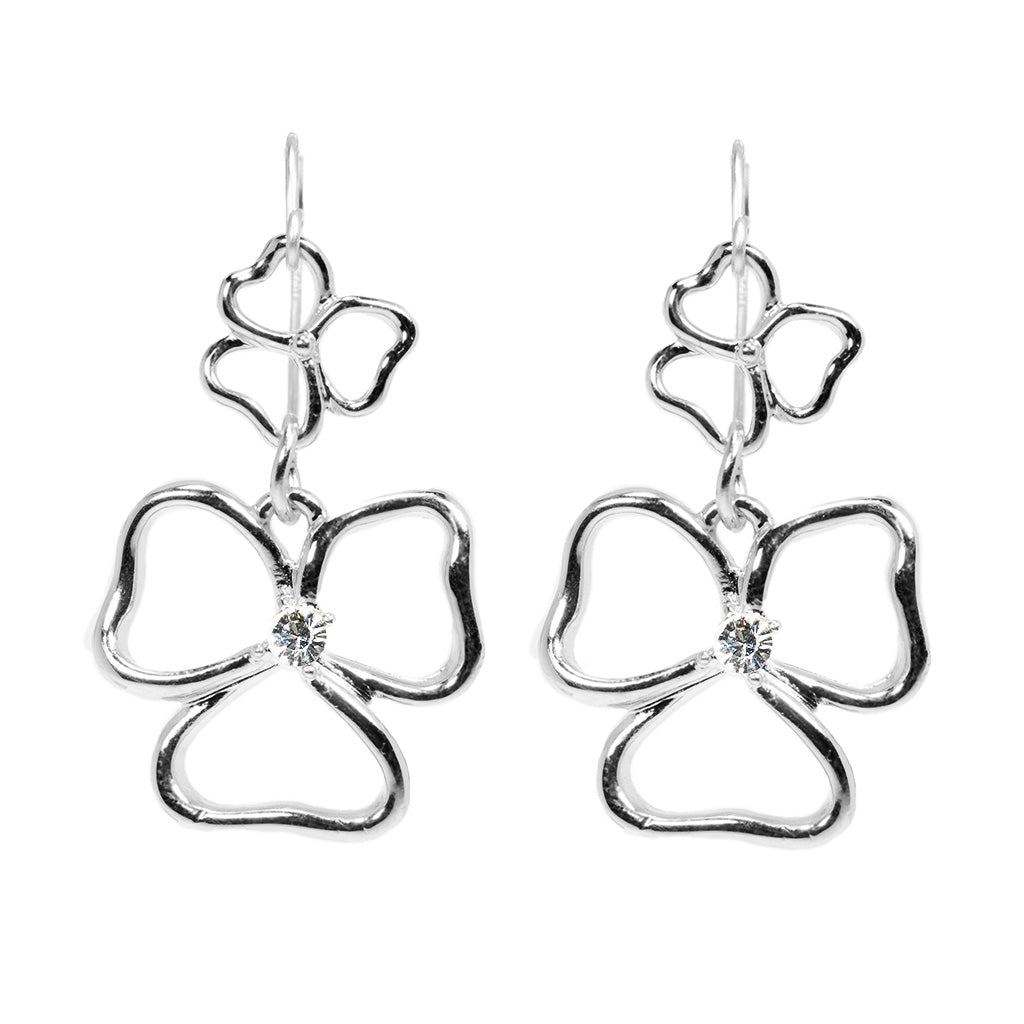 Silvertone Double Drop Open Heart Earrings
