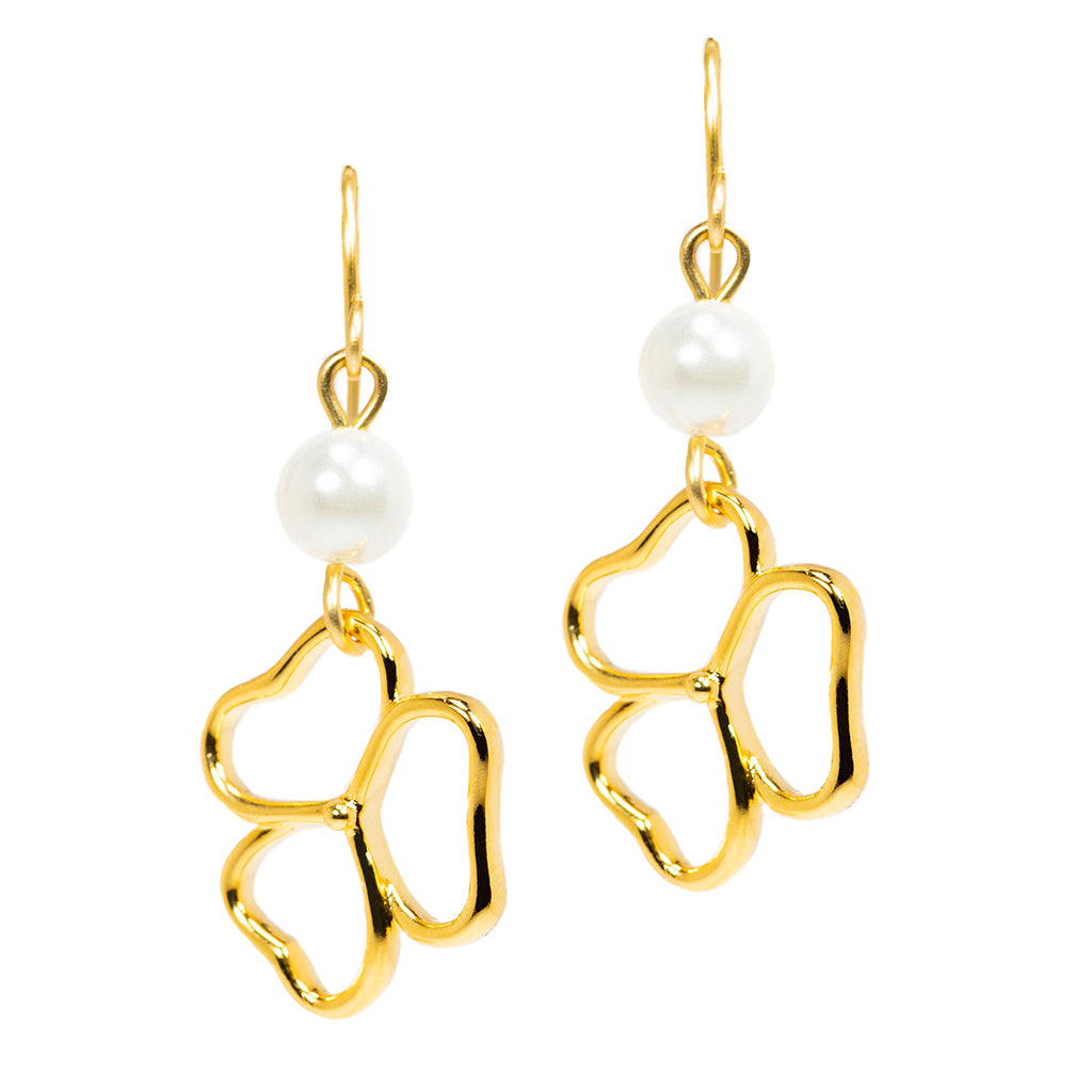 Goldtone Double Drop Open Heart Earrings With Pearl