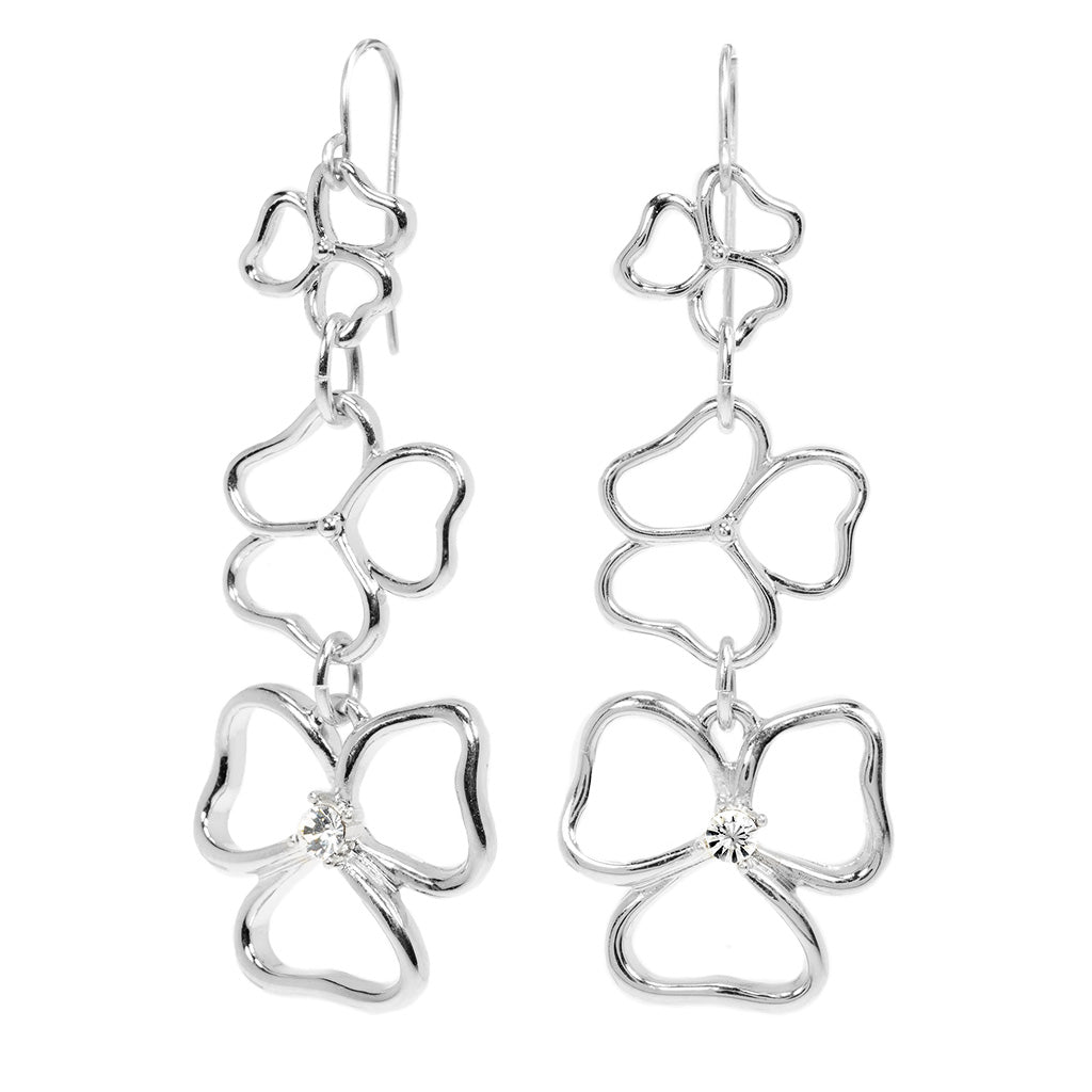 Silvertone Triple Drop Open Heart Earrings