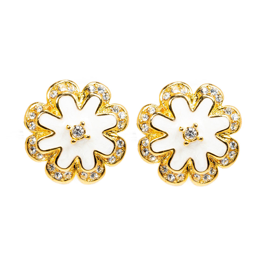 Goldtone White Enamel with Crystal Stud Earrings