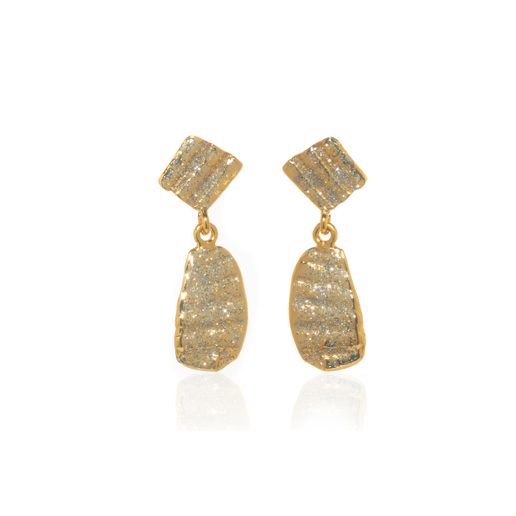 Small Ridged Shell Drop Oval Earring Gold Stardust