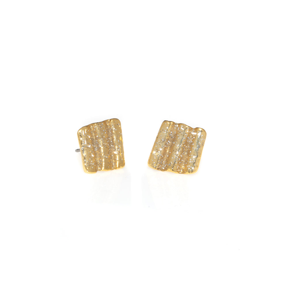 Small Ridged Shell Square Button Earrings Gold Stardust