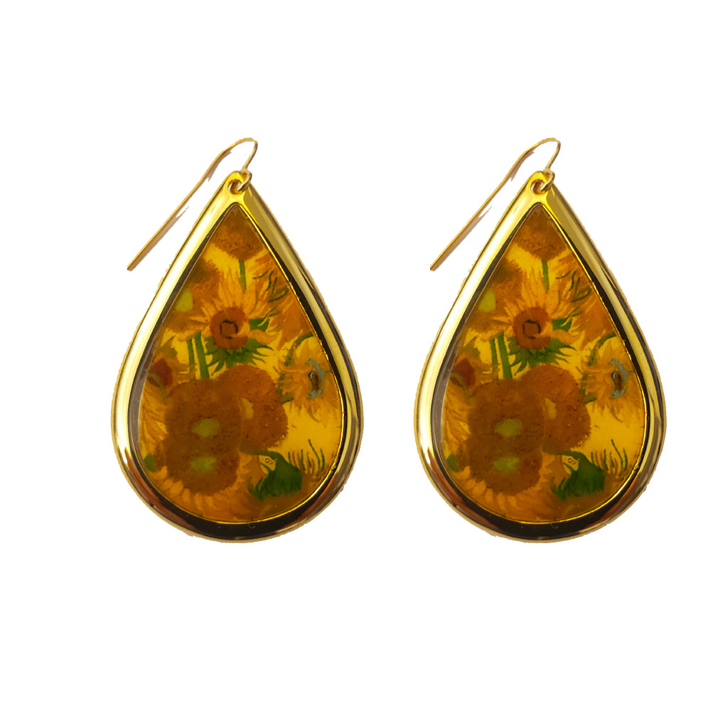 NEW Van Gogh 22k Gold Plated Sunflowers Large Teardrop Earrings