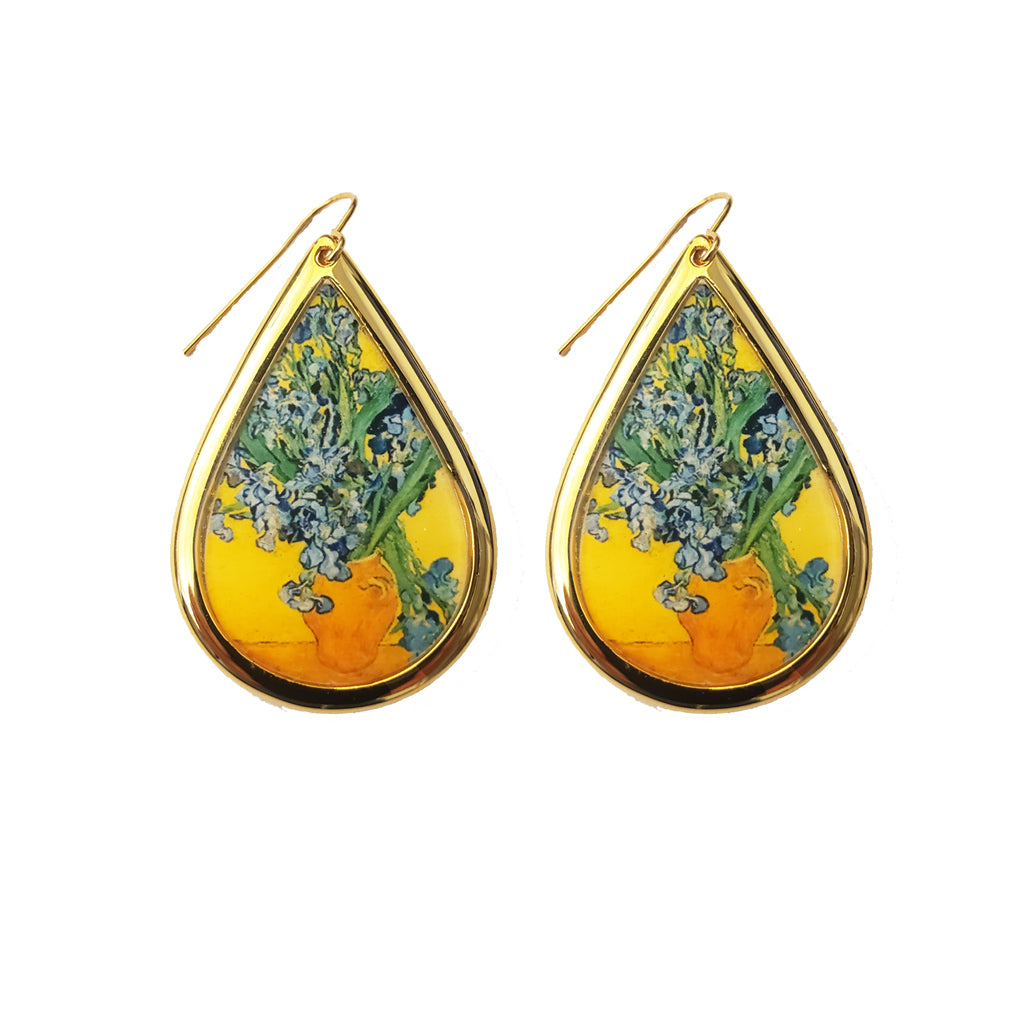 NEW Van Gogh 22k Gold Plated Irises Large Teardrop Earrings