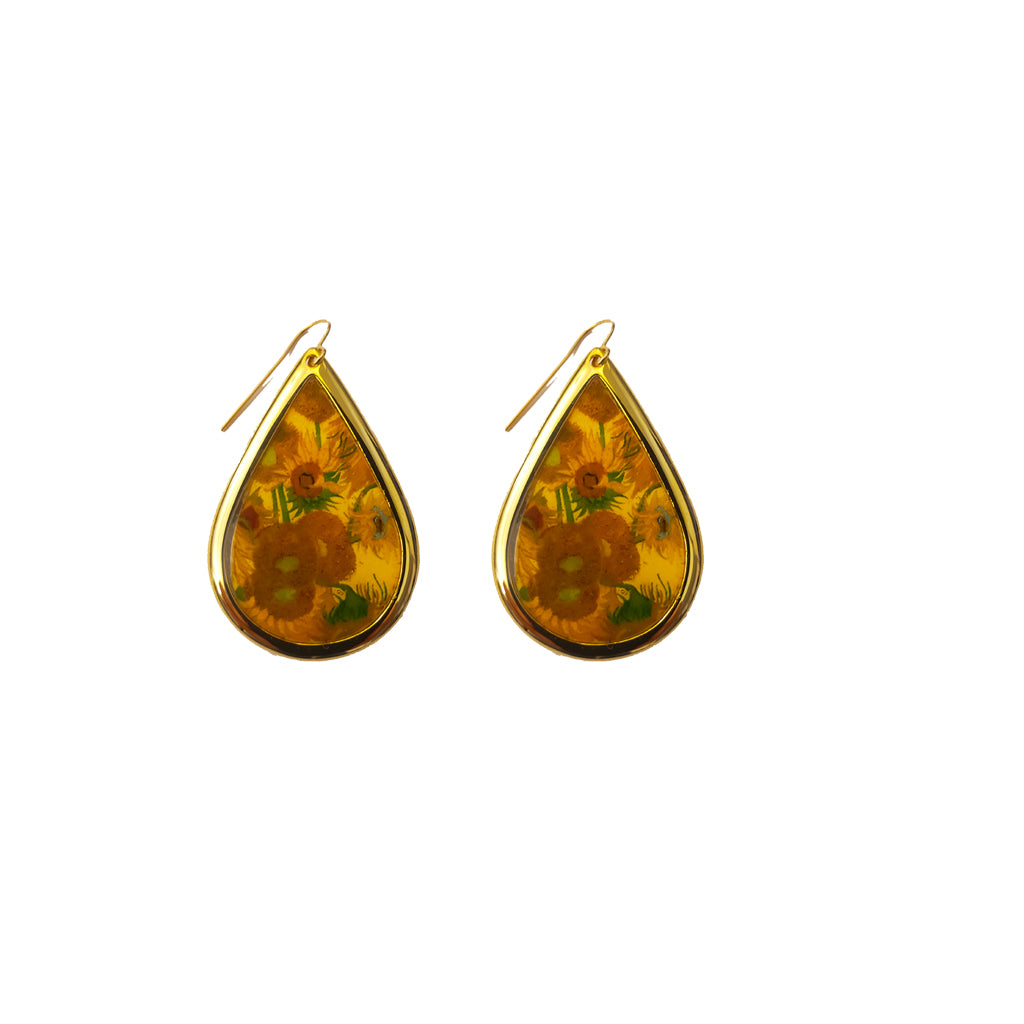 NEW Van Gogh 22k Gold Plated Sunflowers Small Teardrop Earrings