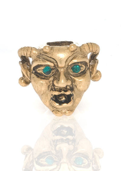 Antique Goldtone Horned Gargoyle with Emerald Eyes Charm