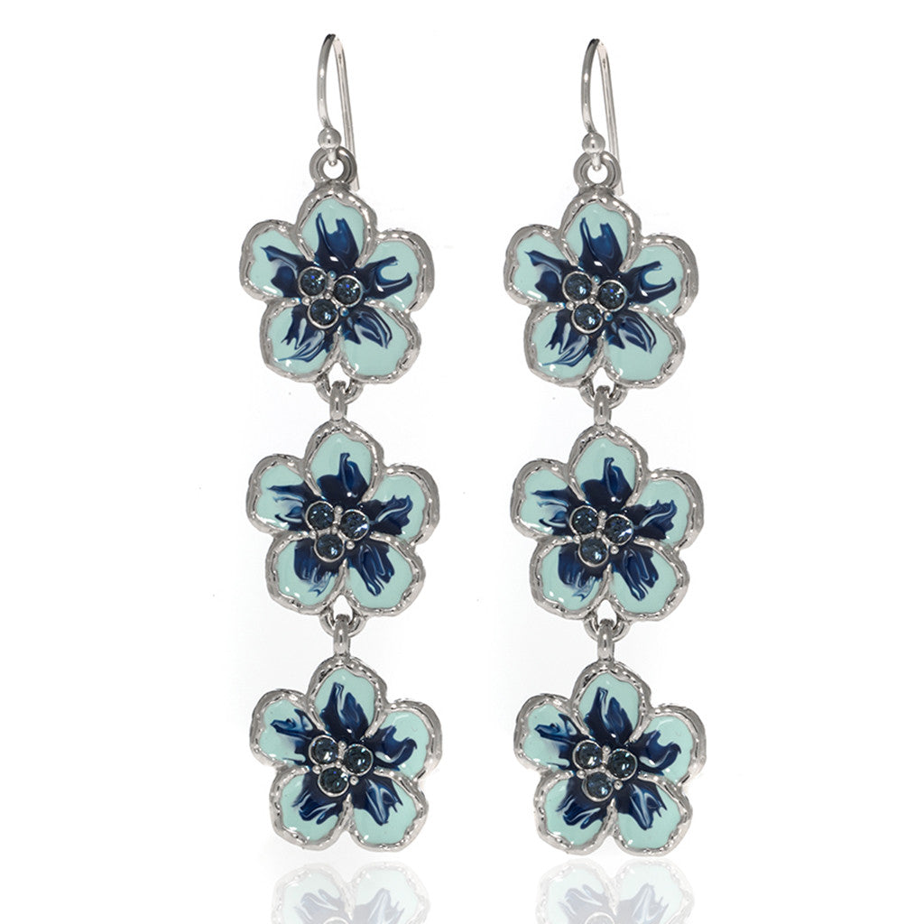 Orchid Evening Blue Mix Drop Pierced Earrings