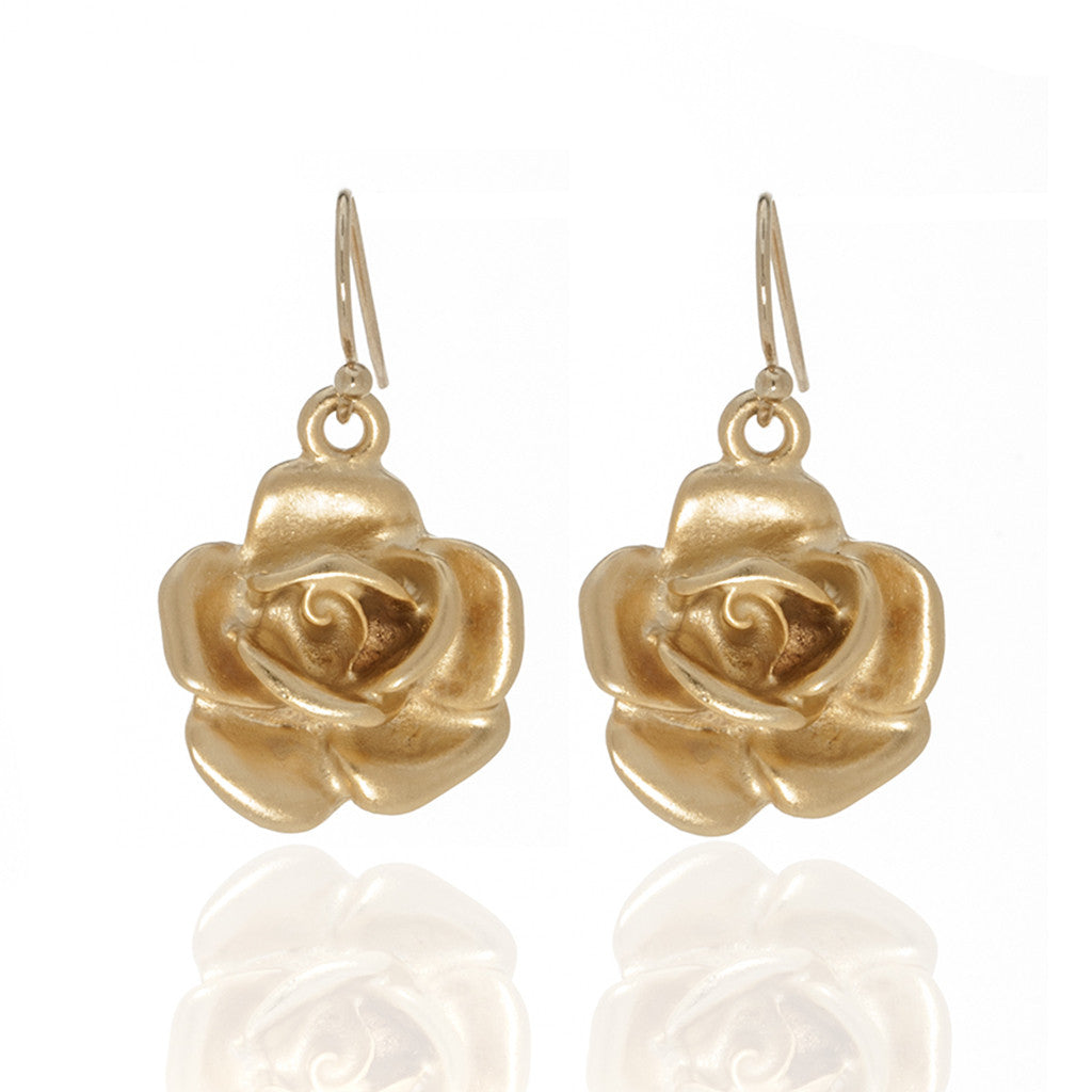 Garden Gold Rose Eurowire Earrings