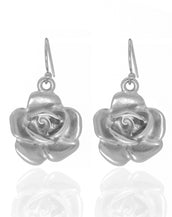 Garden Silver Rose Eurowire Earrings