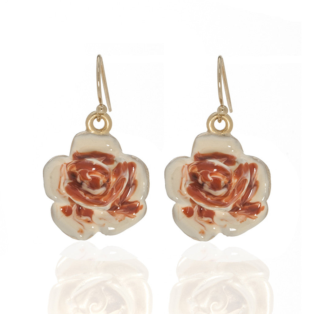 Garden Peach Rose Eurowire Earrings