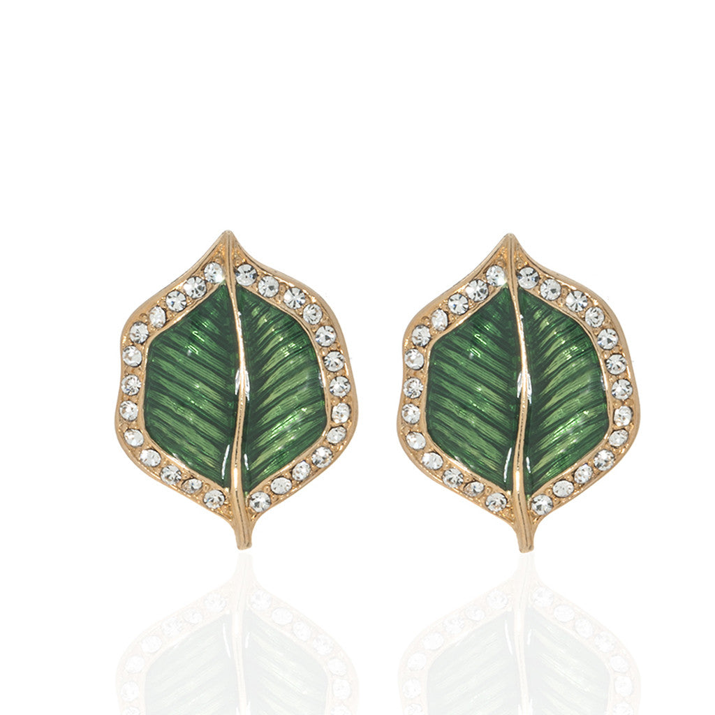 Jeweled Foliage Green Crystal Leaf Earrings