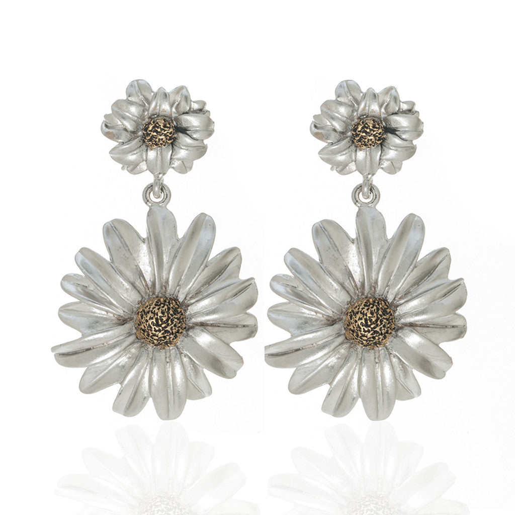 Botanica Mexicana Two Tone Drop Daisy Earrings