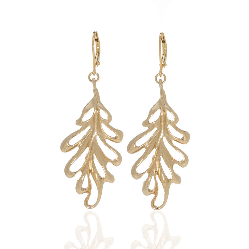 Jeweled Foliage Golden Oak Drop Earrings
