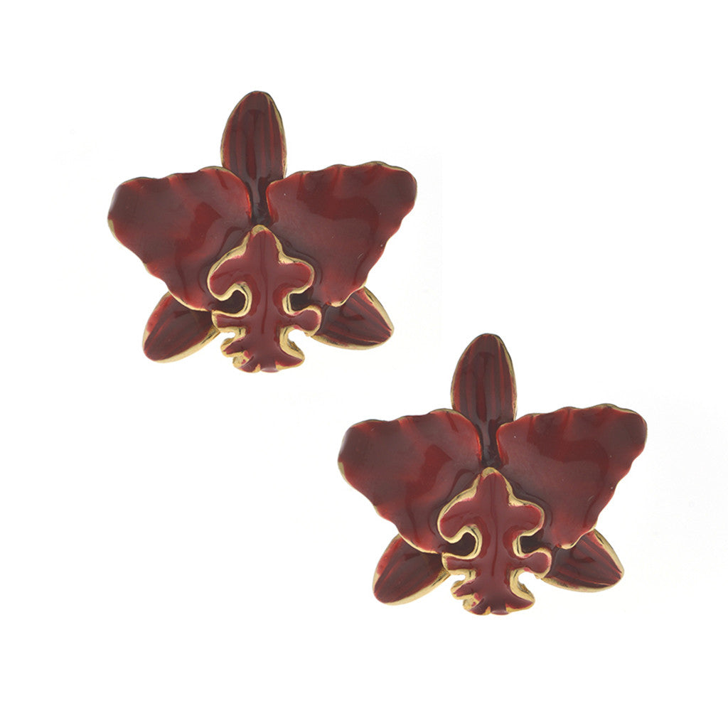 Garden Red Cattleya Pierced Earring