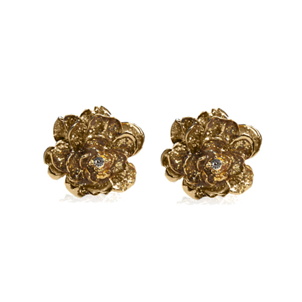Garden Stardust Gold Clip Earrings