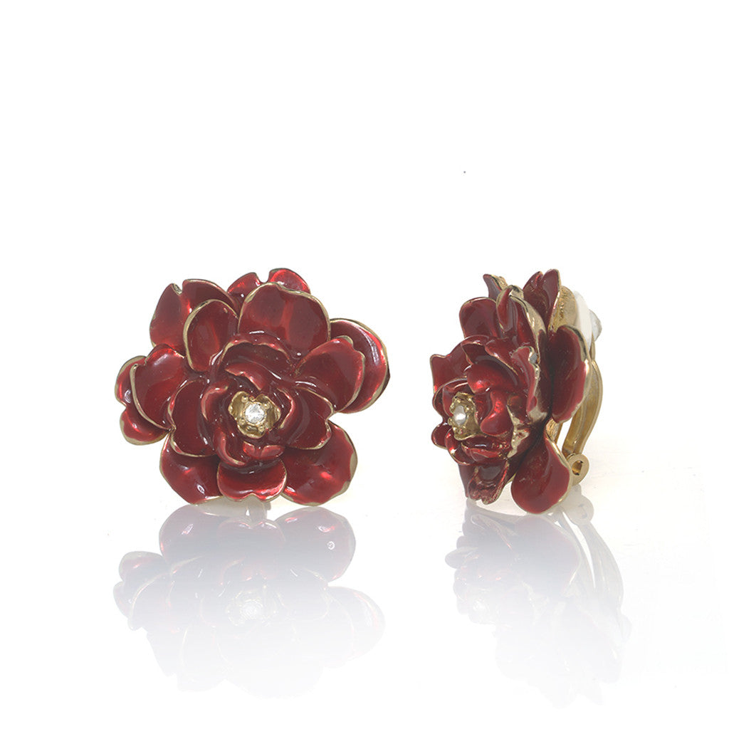 Garden Red Rose Clip Earrings