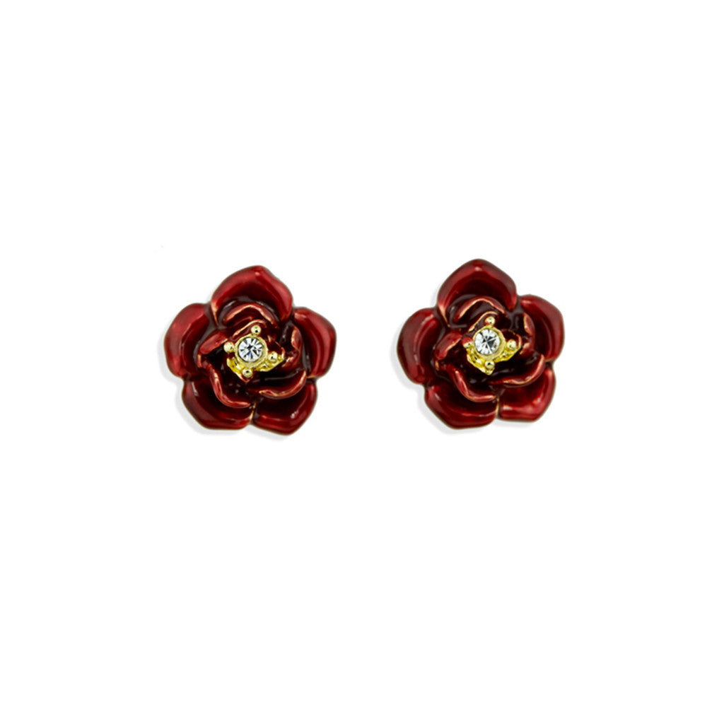 Red Rose Pierced Earrings