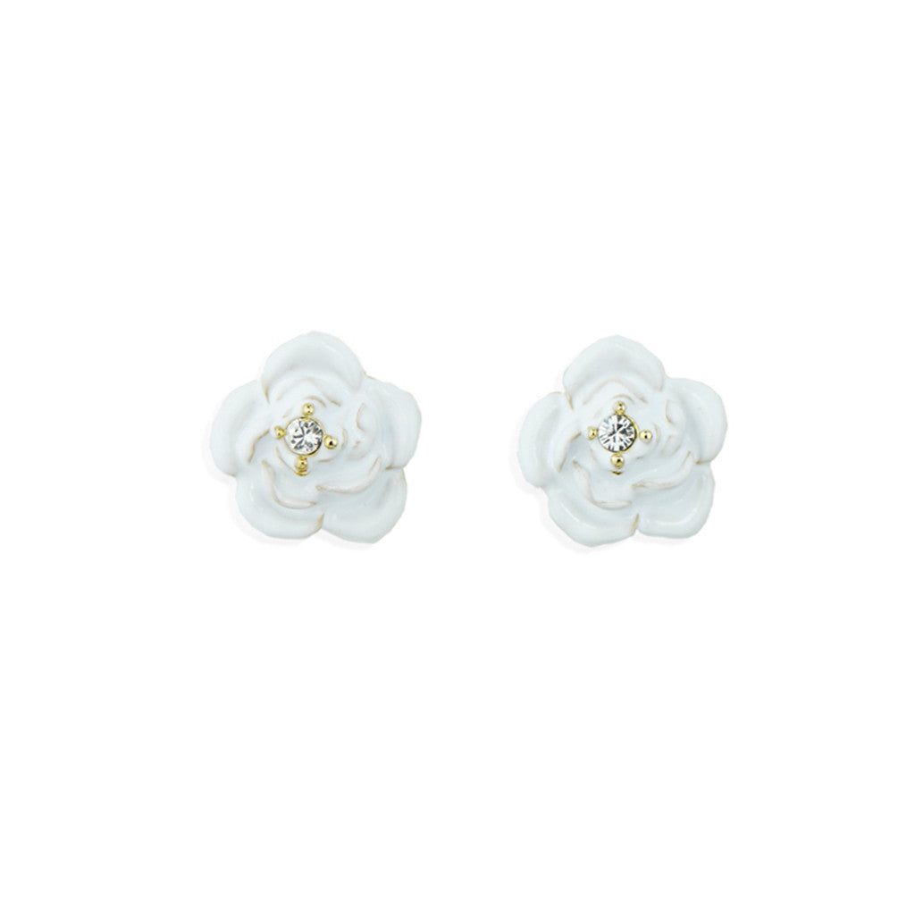 White Rose Pierced Earrings