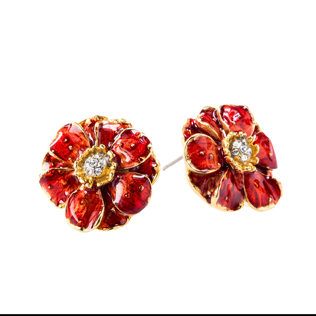 Double Rose Clip Earring With Red Flower