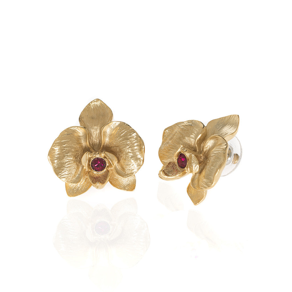Orchid Goldtone Earring With Ruby Crystal